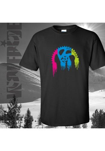 Mountain bike themed organic t-shirt, multicolour chainring design.