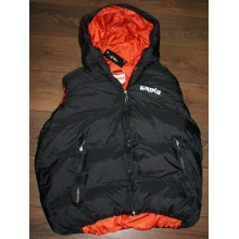 Padded dax down gillet, black with orange inside