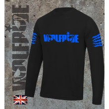 Long sleeve performance bike jersey / top with Wolfride logo Flouro Blue