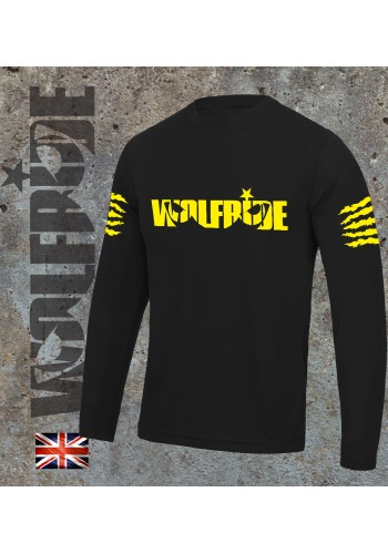 Long sleeve performance bike jersey / top with Wolfride logo Flouro Yellow