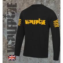 Long sleeve performance bike jersey / top with Wolfride logo Flouro Orange