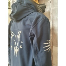 Performance Soft Shell Jacket with removeable hood and reflective print - WOLF