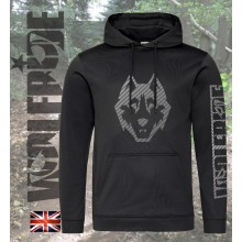 Carbon fibre wolf print technical sports hoodie