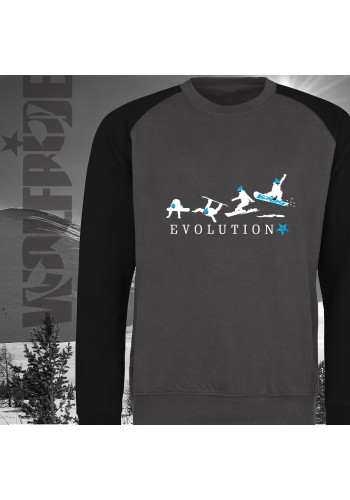 Evolution of Snowboarding baseball sweater