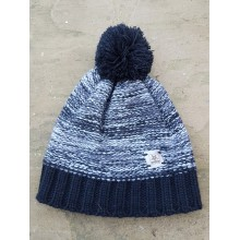 Bobble Hat - black white with black bobble hat - no rim