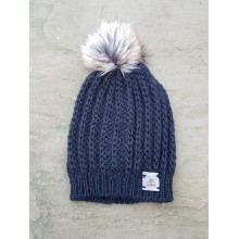 Black hat with fake fur bobble - no rim
