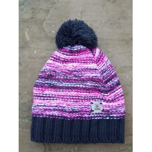 Bobble Hat - pink / purple / white with black bobble hat - no rim