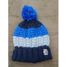 Bobble Hat - blue / navy white hat - with roll up rim