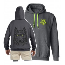 Abstract wolf print hoodie