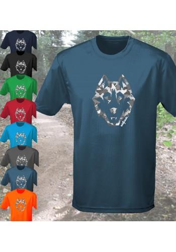 Camo Wolf print performance short sleeve top