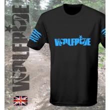 Wolfride logo - short sleeve technical light weight t-shirt  flouro blue