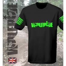 Wolfride logo - short sleeve technical light weight t-shirt  flouro green