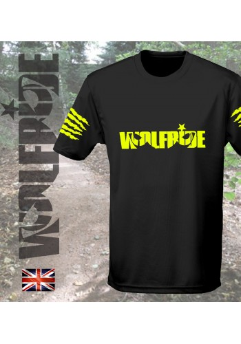 Wolfride logo - short sleeve technical light weight t-shirt  flouro yellow
