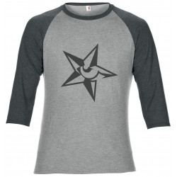 3/4 length 2 colour heather grey and grey marl t-shirt Star