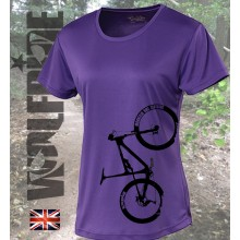 Ladies Bike Print v-neck performance tee