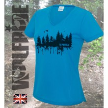 Ladies Forest Print v-neck performance tee