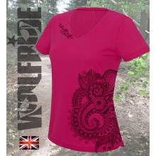 Ladies Paisley Print v-neck performance tee
