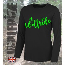 Womens long sleeve wolfride performance top mountain bike top - black