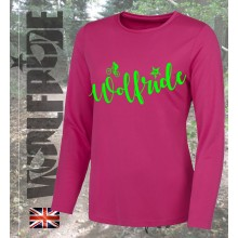 Womens long sleeve wolfride performance top mountain bike top - pink